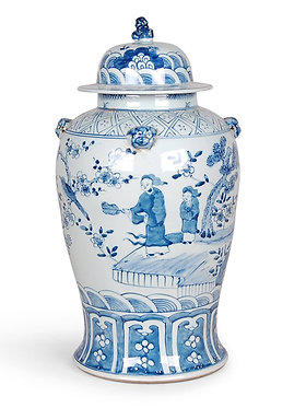 Blue & White Figures Ginger Jar