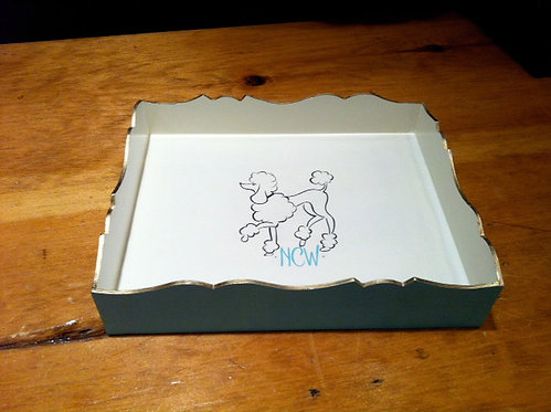 "Hand Painted Custom Monogram 8""x10"" Scalloped Edge With Dog"