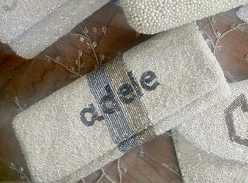 "Custom Monogram Envelope Beaded Clutch Handbag 4""x9"""