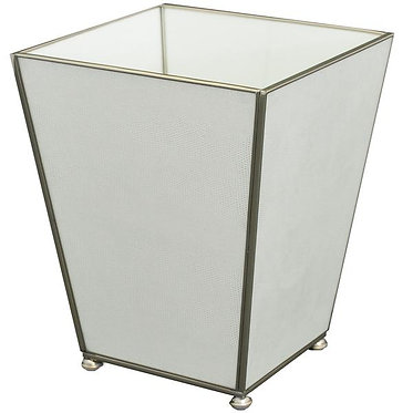 White Lizard Print Metal and Glass Wastebin Wastebasket