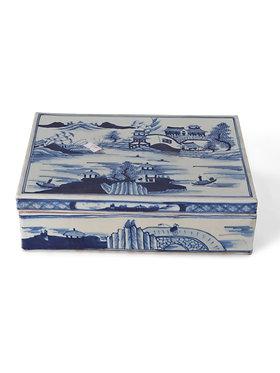 Blue and White Caton Square Box