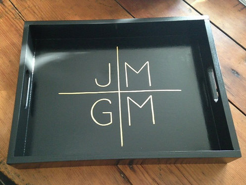 "Hand Painted Custom Monogram 18""x14"" Flat Edge Tray"