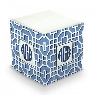 Fret Navy Monogram/Name Sticky Memo Cube