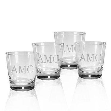 Monogrammed DOF Luigi Bormioli Glasses, 13.75oz, SET OF 4