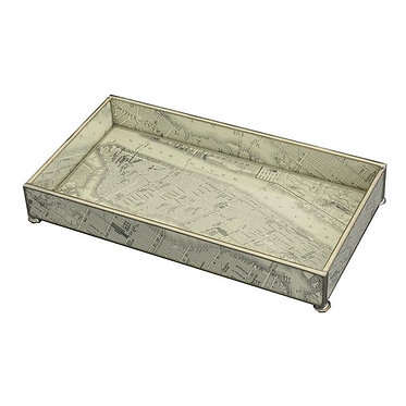 """New York Map 6"""" x 12"""" Metal and Glass Vanity Tray"""