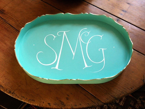 "Hand Painted Custom Monogram 18"" Scalloped Edge Tray"