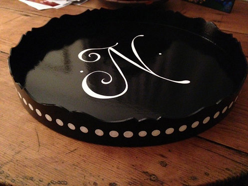 """Hand Painted Custom Monogram 20"""" Round Scalloped Edge Tray With Dots"""