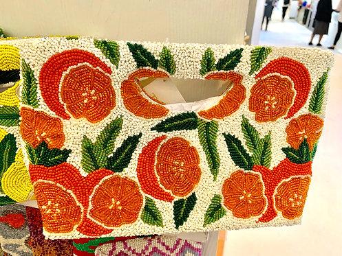 Cut Out Handle Beaded Orange Monogram Handbag