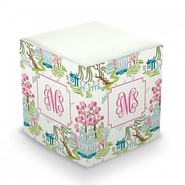 Chinoiserie Spring Monogram/Name Sticky Memo Cube