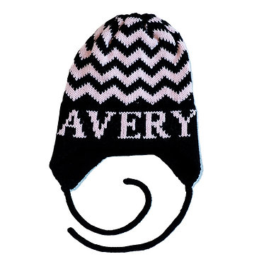 Chevron Name Hat With Earflaps