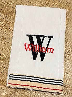 Custom Burberry Style Grosgrain Ribbon Embroidered Burp Cloth