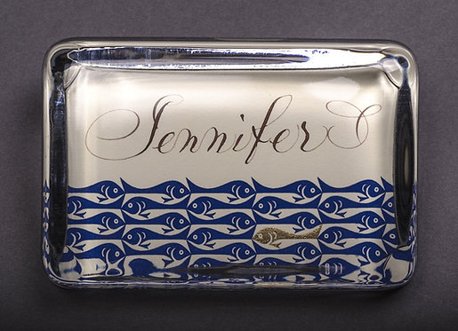 Custom Embossed School of Fish Monogram Name Glass Paperweight In Gift Box