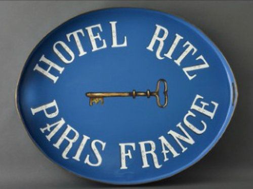 JM Piers Hotel Ritz Blue Metal Tole Hand Painted Tray