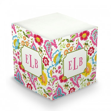 Bright Floral Monogram/Name Sticky Memo Cube