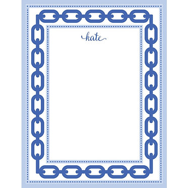 Blue Chain Link Personalized Notepad