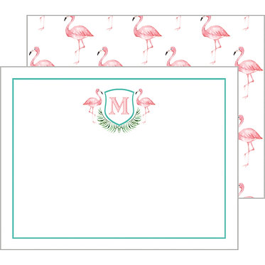 Watercolor Pink Flamingo Personalized Flat Notecards
