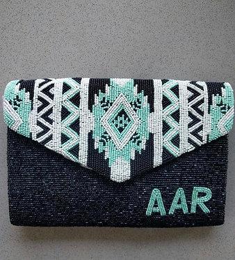 Custom Monogram Aztec Envelope Beaded Clutch Handbag
