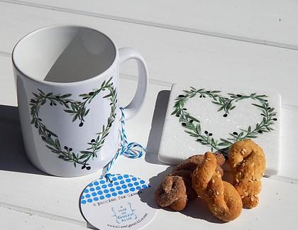 ceramic mug - marble coaster