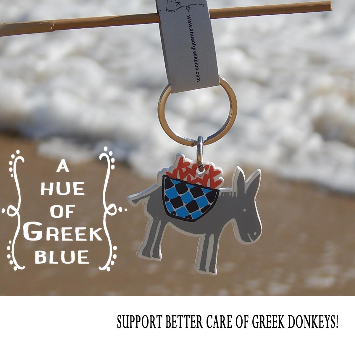 Plexiglass Keyring - Greek Donkey