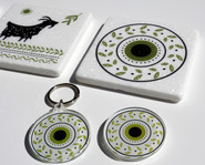 plexiglass keyring and magnet and marble coaster