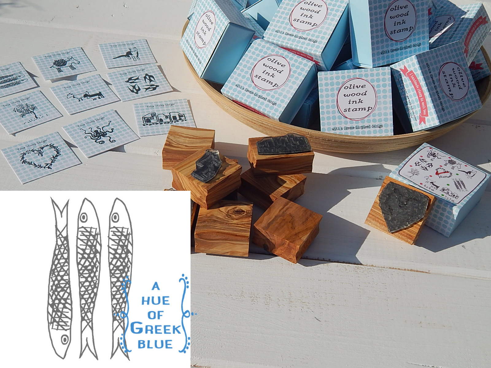 Olive Wood Stamp in a Box - Sardines