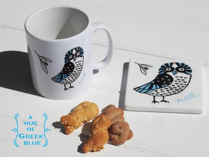 ceramic cup - marble coaster