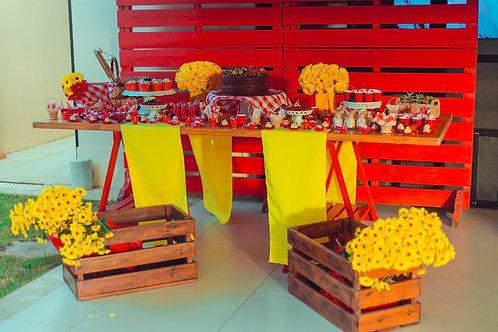 Mesa Cavalete em Vermelho >> 2,10m x 0,80m