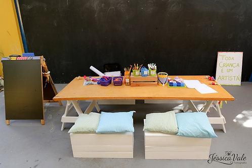 Mesa de Oficina Infantil >> cavaletes brancos