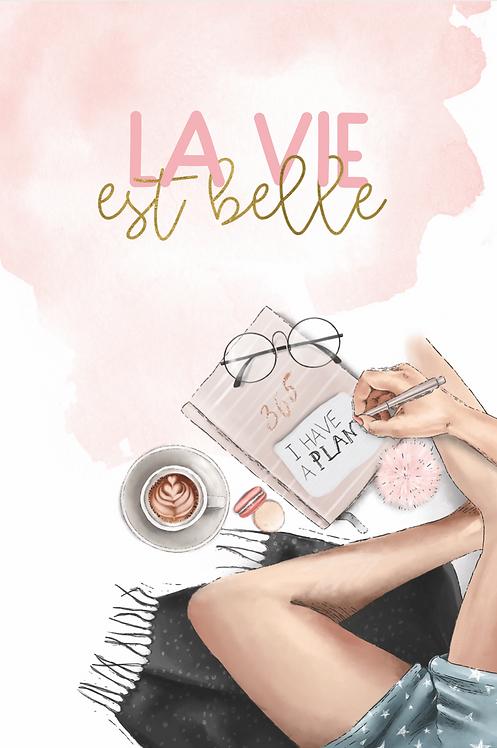 """Kritzelblock """"la vie est belle"""""""