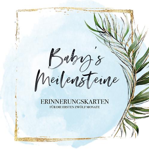 "Baby's Meilensteine ""greenery""blau"