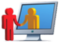 clip art image showing person in red shaking hands with computer screen image of person in yellow