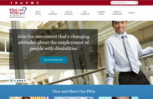 Screenshot of new campaign for disability employment website shows employee smiling at an office