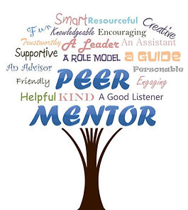 Peer Mentor logo with descriptive words like caring and supportive forming a tree
