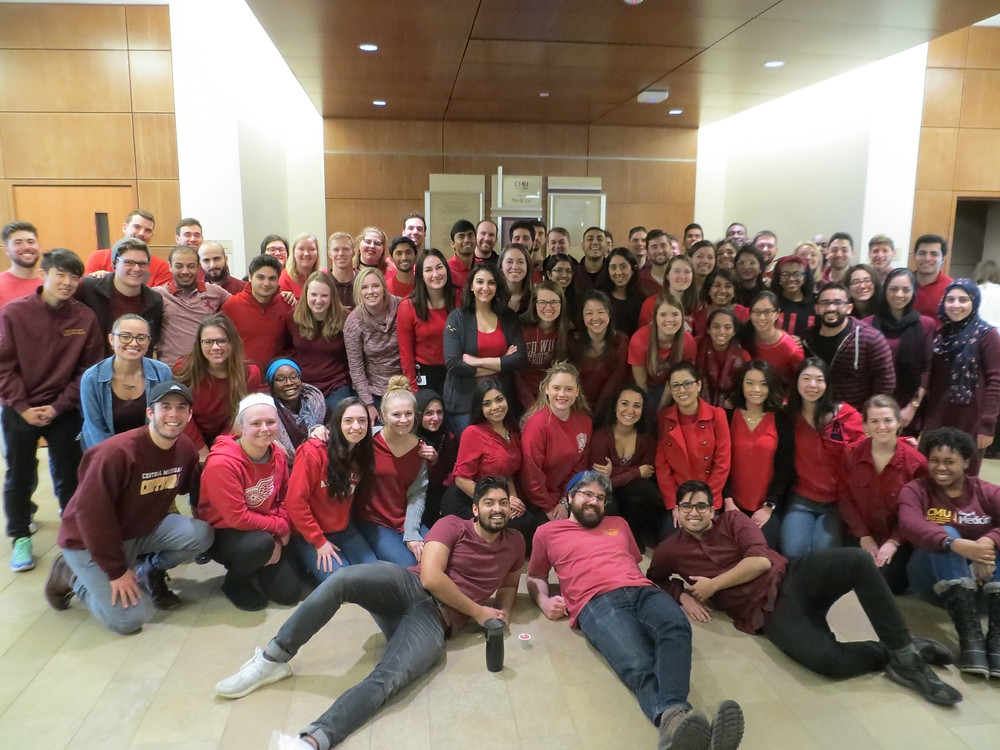 CMU medical students gather in main hall to wear red to bring awareness of heart issues to women