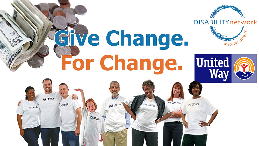 Give Change for Change shows a pile of spare change with various people wearing United Way tshirts. the DNMM logo and United Way logos are also displayed.