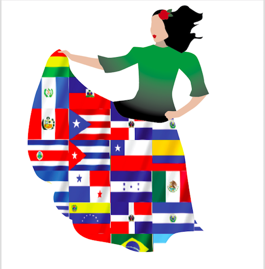 clip art  of hispanic woman with dress made of flags of hispanic nations