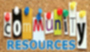 Bulletin boad with words commuity resources