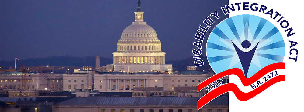 Disability Integration Act logo next to night time picture of US Capitol building