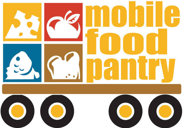 Mobile Food Pantry logo featuring clip art images of cheese, apple, fish, and bread creatively arranged to resemble a semi-truck.