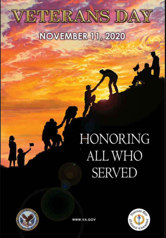 Veterans Day poster features various veterans climbing a hill in front of a beautiful orange sunset sky