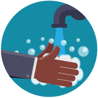 Cartoon image of person washing hands