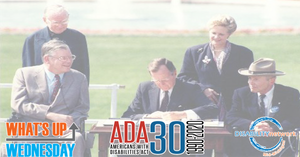 President George Bush signs the ADA into law on July 26, 1990 on the White House lawn