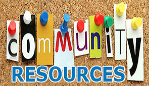 Community Resources letters pinned on bulletin board
