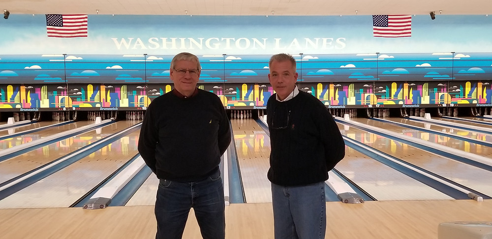 John Roszatycki and Jim Nyhan, owners of Bay City's newly renovated Washington Lanes
