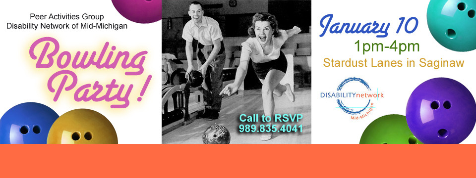 Photo of advertisement for the bowling party