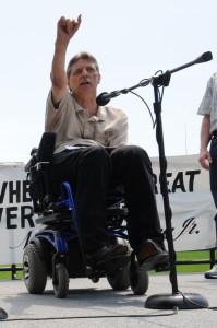 Kelly Buckland giving a speech
