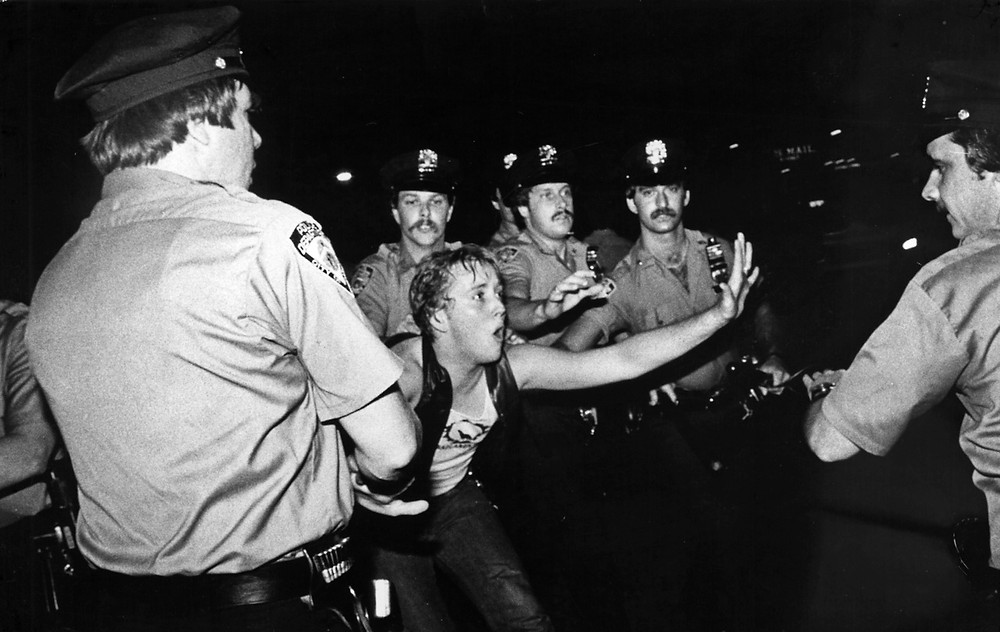 historic photo of people arrested during stonewall riots