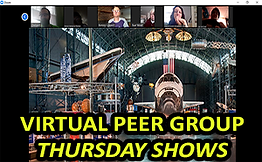 Virtual Peer Group Thursday Shows featuring Zoom meeting screen shot of virtual tour of smithsonian museum