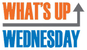 What's Up Wednesday logo, in orange and blue text with gray arrow pointing up