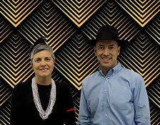 shauna and paul barbeau in roaring twenties attire in front of black and gold art deco background